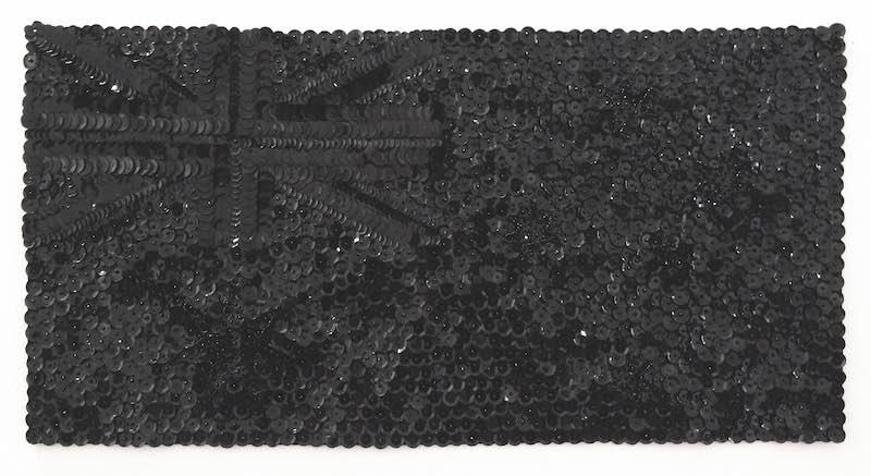 Liam Benson, Black Flag, 2015. Cotton, sequins, seed beads, 30 x 59cm.
