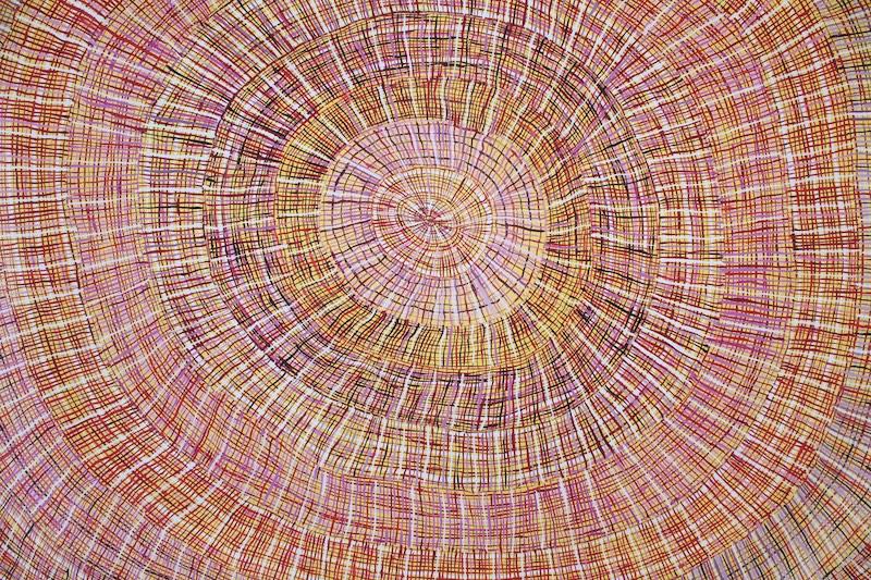 Regina Pilawuk Wilson, Sun Mat. Acrylic on Belgian linen, 200 x 120cm.