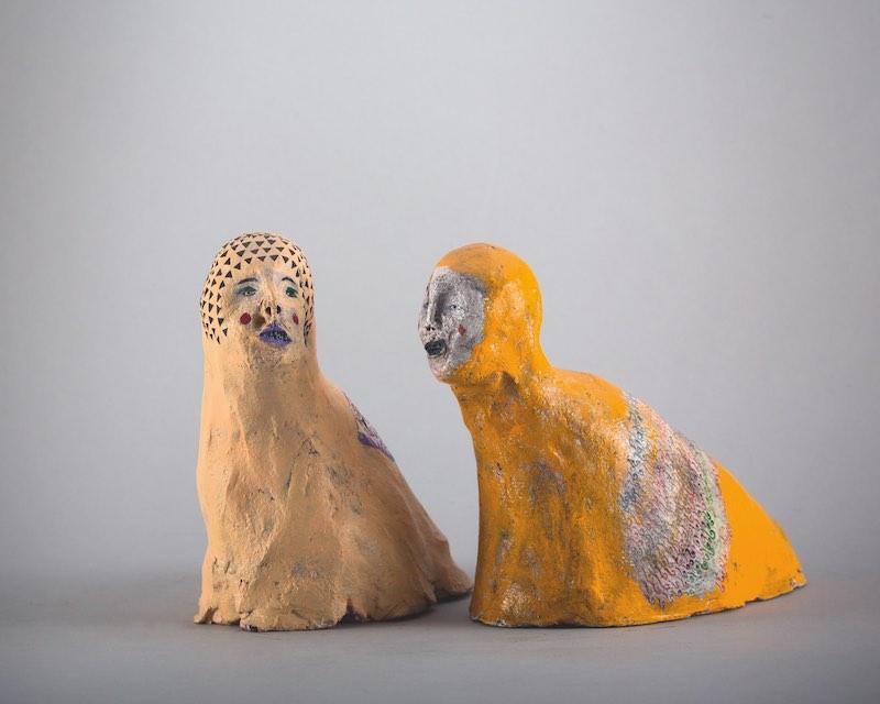 Suji Park, Mollusc VI, 2012. Fired clay, pigment, watercolour paint, acrylic paint, dimensions variable.